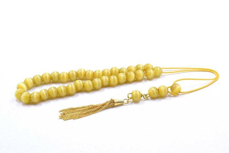 Komboloi for Women, Worry Beads, Yellow Cat's Eye Beads, Greek Komboloi, Metal Tassel, Gift for Her, Gift for Mom, Gift for Wife