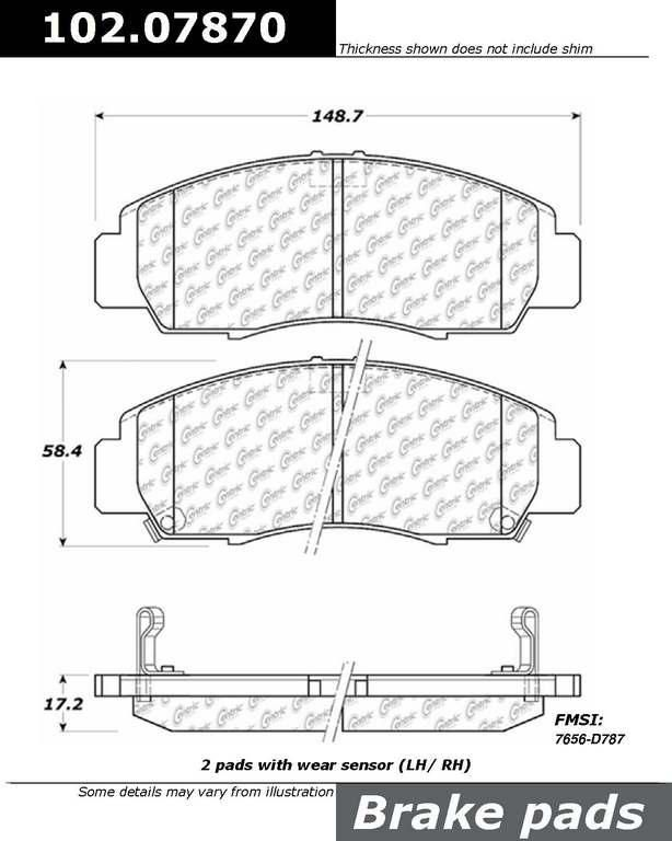 Brand:Centric Part Number:acucl/102.07870 Category:Brake Pad  Price : $14.75 2Years Warranty
