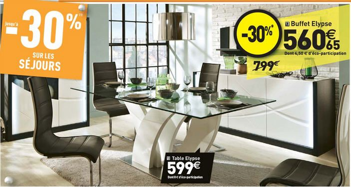 Table de s jour 100 cm elypse prix promo table conforama for Table sejour conforama