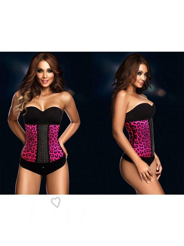 Rose Color Leopard Sexy Women Latex Rubber Waist Underbust Corset Body Shaper Shapewear Lidbjjy1605261005