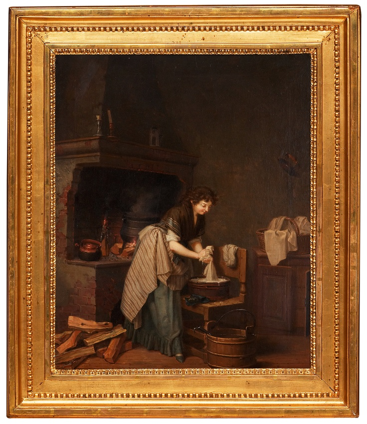 "Kitchen interior with woman washing.  ""Pehr Hilleström 1733-1816. Signerad. Köksinteriör med kvinna som tvättar.   Oil on canvas. Signed. 52 x 42,5. ""  Uppsala auktionskammare 2006. Final result: SEK. 280.000:-"