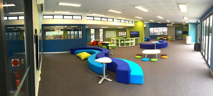 Early Stage 1 learning space at St. Luke's, Marsden Park. With Junior Amphitheatre, Plektrum table, and low Pebble table and Seatpads.