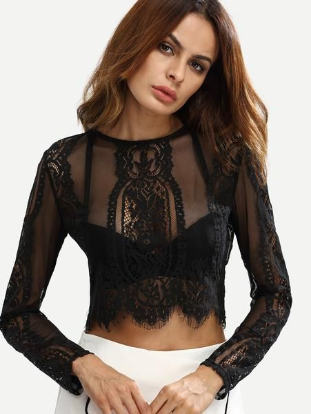black lace crop top blouse, see through black lace top, sexy black top - Lyfie
