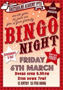 Family fundraising night - Bingo!                                                                                                                                                                                 More
