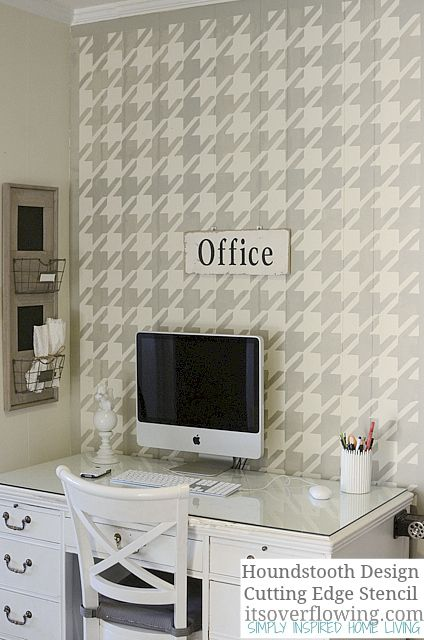Stenciling Wall-Houndstooth-ItsOverflowing