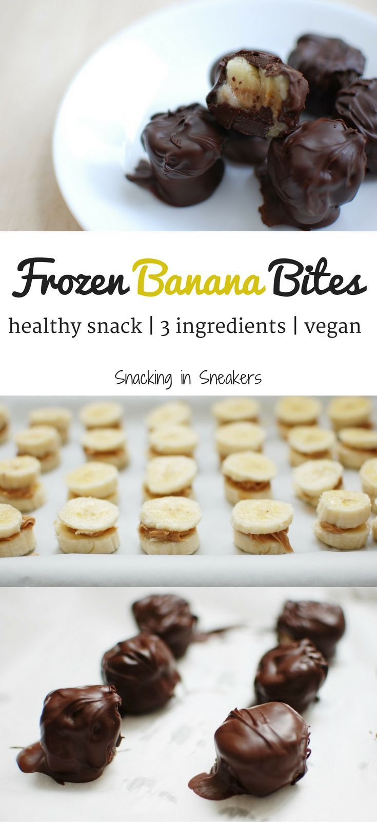 These frozen banana bites made with peanut butter and dark chocolate are perfect when you're craving a sweet treat but want a healthy option! Packed with potassium & healthy fats. | healthy banana dessert | healthy frozen banana bites | banana dessert rec