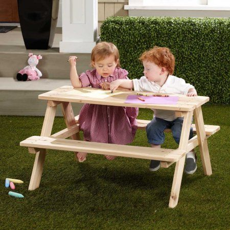 Buy Northbeam Kids Wooden Picnic Table at Walmart.com