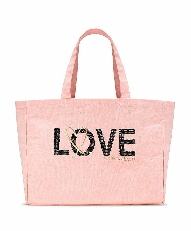 Victoria's Secret Pink Large Canvas LOVE Tote Bag Brand New