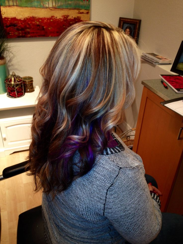 Highlights, lowlights and peekaboo purple:) So much fun!!!  BEST STYLIST EVER....!!!!