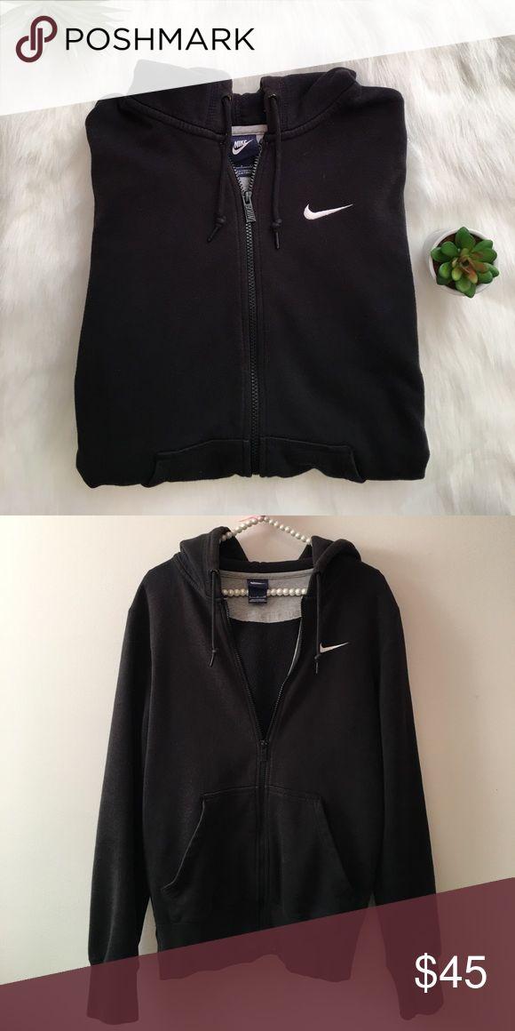 NIKE black and white zip up hoodie Black and white nike zip up hoodie in excellent condition. Nike Tops Sweatshirts & Hoodies