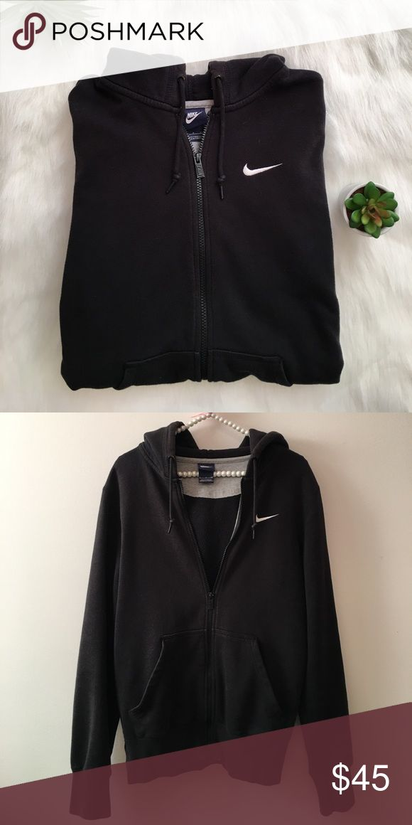 NIKE black and white zip up hoodie Black and white nike zip up hoodie in excellent condition. Nike Tops Sweatshirts & Hoodies