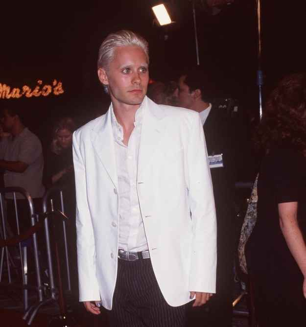 March 5, 2015 - Jared Leto debuted his retro shorter blonde do. He rocked a similar look in 1998. Sorry Jared, but not a big fan of the new blonde locks. Do like the short hair & great jacket!