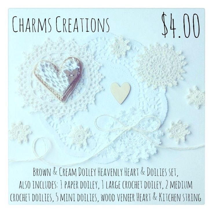 Brown & Cream Heavenly Heart & Doilies Set / Charms Creations