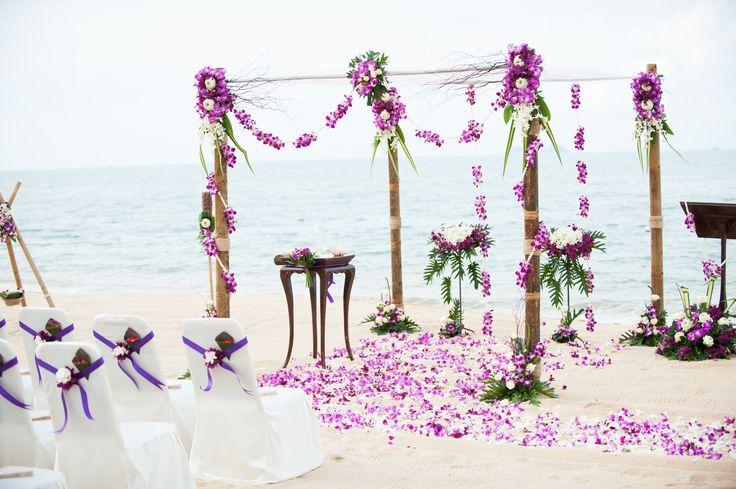 Purple beach wedding. Weddings in Thailand