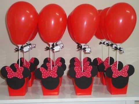 Enfeite Centro de Mesa Ideias Decoração Minie Minnie Vermelha e Rosa