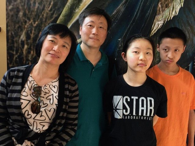 The Zhu family from Newtown, PA stopped by the Savannah Visitor Center on Martin Luther King, Jr.. They got some Savannah tips and took time out for a family photo. Left to Right is momHong Cai, dad Bin Zhu, Allison Zhu and David Zhu.