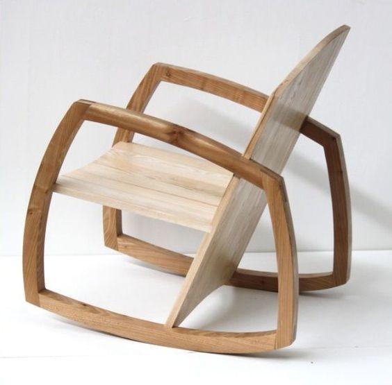 Furniture: Poltrona a dondolo in legno, molto #minimal