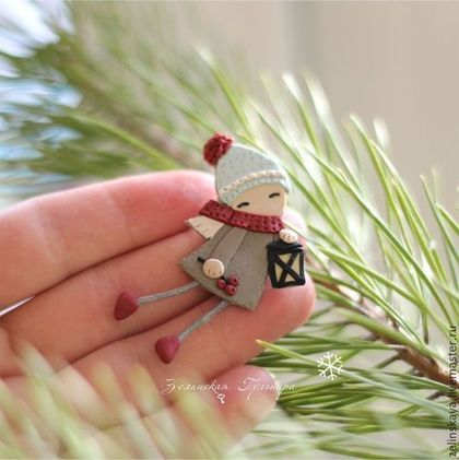 Рождественский ангел (2) Брошь - ангел,рождество,брошь из полимерной глины