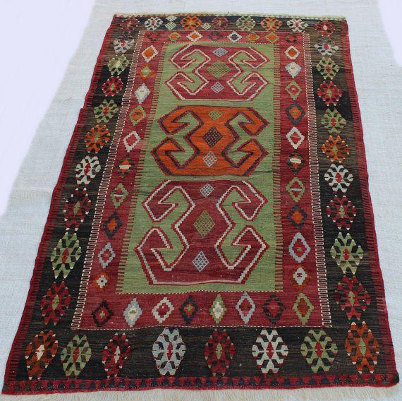 "7x5 ft vintage handmade rug kilim, dark color rug green rug Oriental Nomad Kilim Rug Vintage Turkish Boho Kilim Rug 7'7.3""x4'3.6"" /232x131cm"