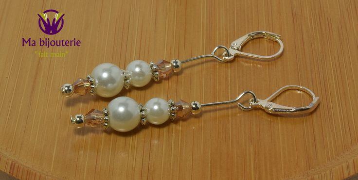 """Boucles d'Oreilles Originales """"Perles Nacre Blanc"""""""