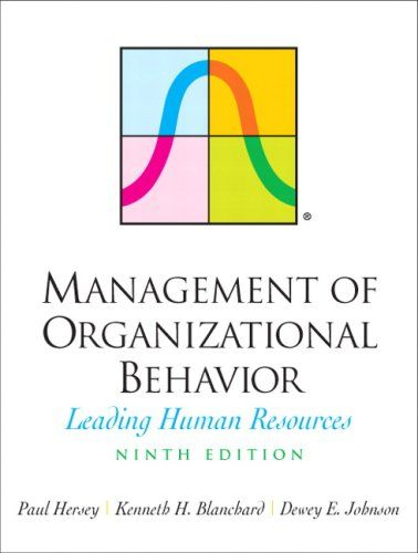 Bestseller Books Online Management of Organizational Behavior (9th Edition) Paul H. Hersey, Kenneth H. Blanchard, Dewey E. Johnson $140.49  - http://www.ebooknetworking.net/books_detail-0131441396.html