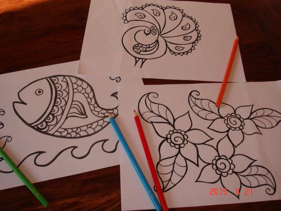 colouring pages for young children simplified by TheHennaGrove
