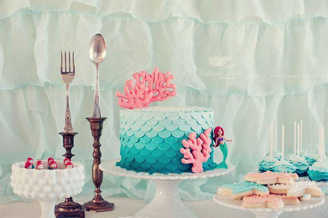 festa pequena sereia bolo
