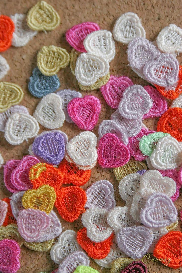Купить вышивка аппликация Мелкие сердечки малютки кружевная вышивка - разного цвета, вышивка аппликация