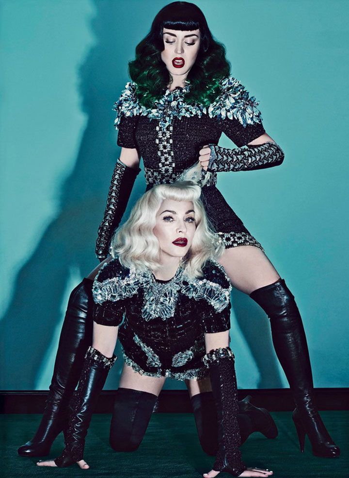 Katy Perry and Madonna | Did a bondage-themed photo shoot. This looks interesting. #youresopretty