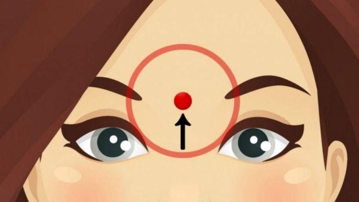 Das passiert, wenn du DIESEN Punkt auf deiner Stirn aufwärts massierst