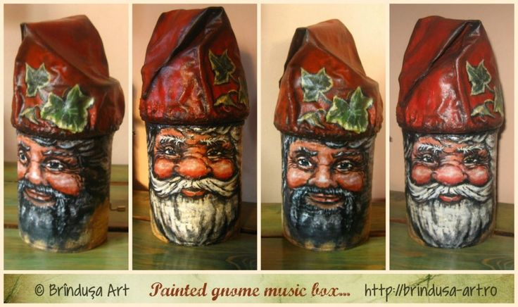 Brîndușa Art 2 cans - recycled, painted (acrylics), turned into a gnome music box (painted in 2 variants). You turn the crank & hear 'Somewhere, over the rainbow…' 2 conserve reciclate, pictate (acrilice), transformate într-o cutie muzicală - gnom (pictată-n 2 variante). Învârtind manivela, se aude muzica – 'Somewhere, over the rainbow…' #repurposing #recycling #cans #painting #conserva #reciclare #handmade #beforeandafter #music_box #gnome #gnom #paintedbox #acrylics #acrilice #cutiepictata