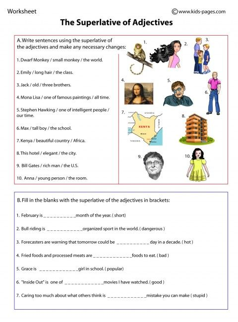 Comparative and superlative exercises with images