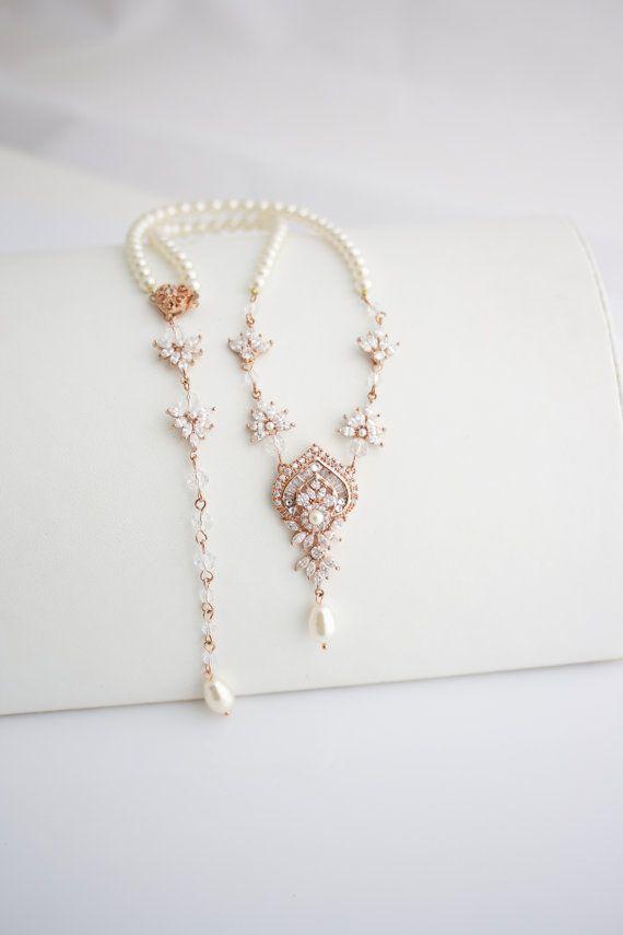 Wedding Necklace Bridal Jewelry Rose Gold Backdrop by LuluSplendor