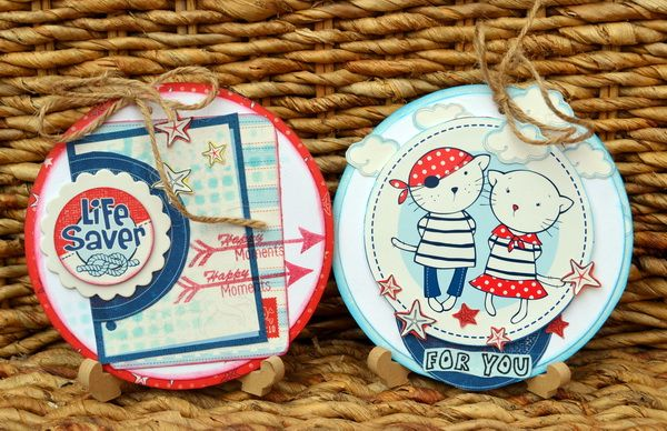 Super pretty pirates tags made by Denise van Deventer with the Zoe & Ziggy's Sailing Adventures collection