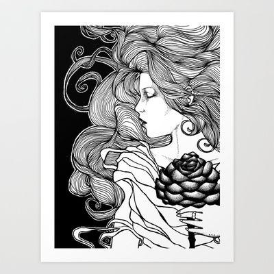ROSE B&W Art Print by GonzJonz - $16.90