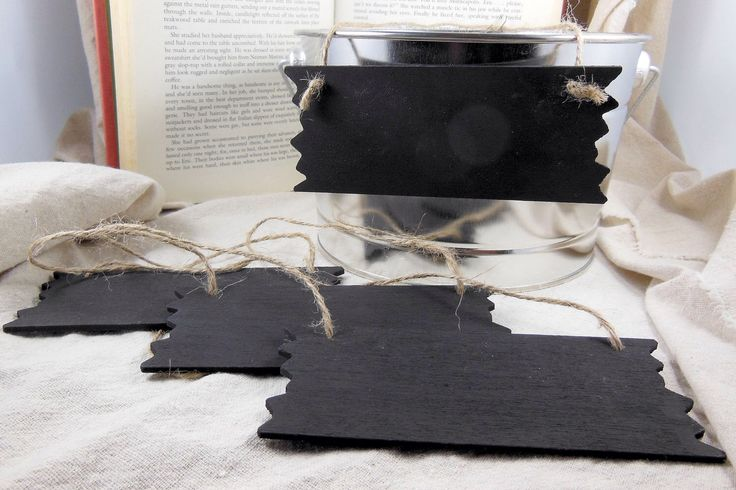 Small Chalkboard Signs with Twine- Set of 4- Small Rustic Sign - 5.5 inches by 2.25 inches by CCNdesigns on Etsy https://www.etsy.com/listing/154651650/small-chalkboard-signs-with-twine-set-of