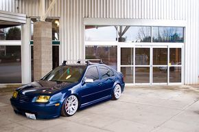Fitment Specifications: Vehicle: 2001 Volkswagen Jetta GLX Wheels: Miro 111 Front Wheels: 8.5 x 18 Rear Wheels: 9.5 x 18 Suspension: Air Ride