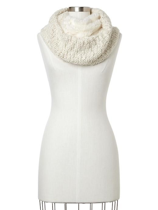 fur-lined infinity cowl scarf / gap
