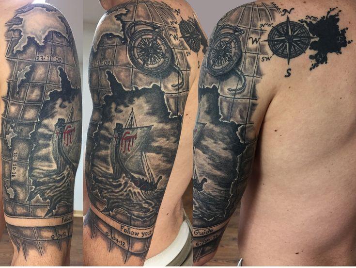 Half sleeve black and grey tattoo map rose de vent drakkar boussole