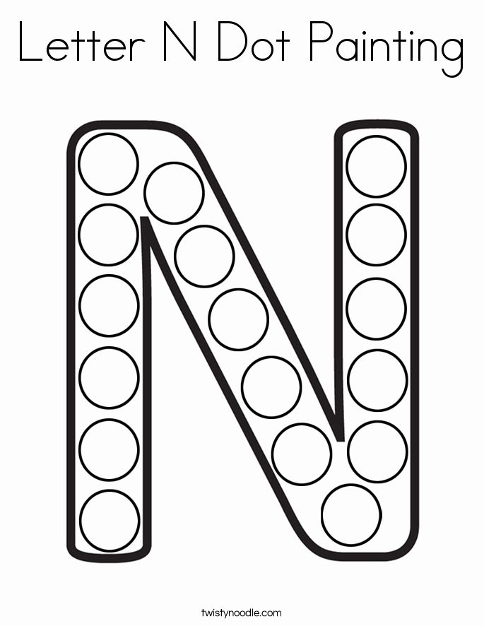 Letter N Coloring Sheet Lovely Letter N Dot Painting Coloring Page Twisty Noodle Preschool Letters Letter N Crafts Dot Letters