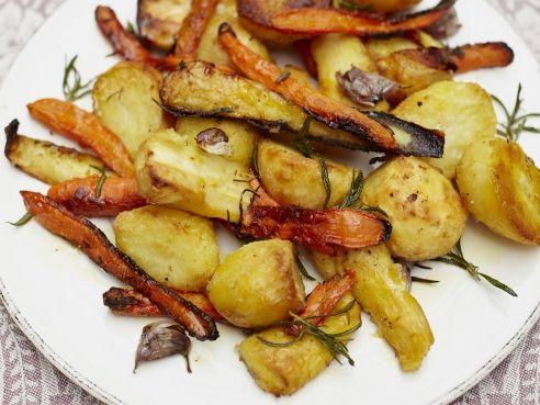 Roast potatoes, parsnips and carrots