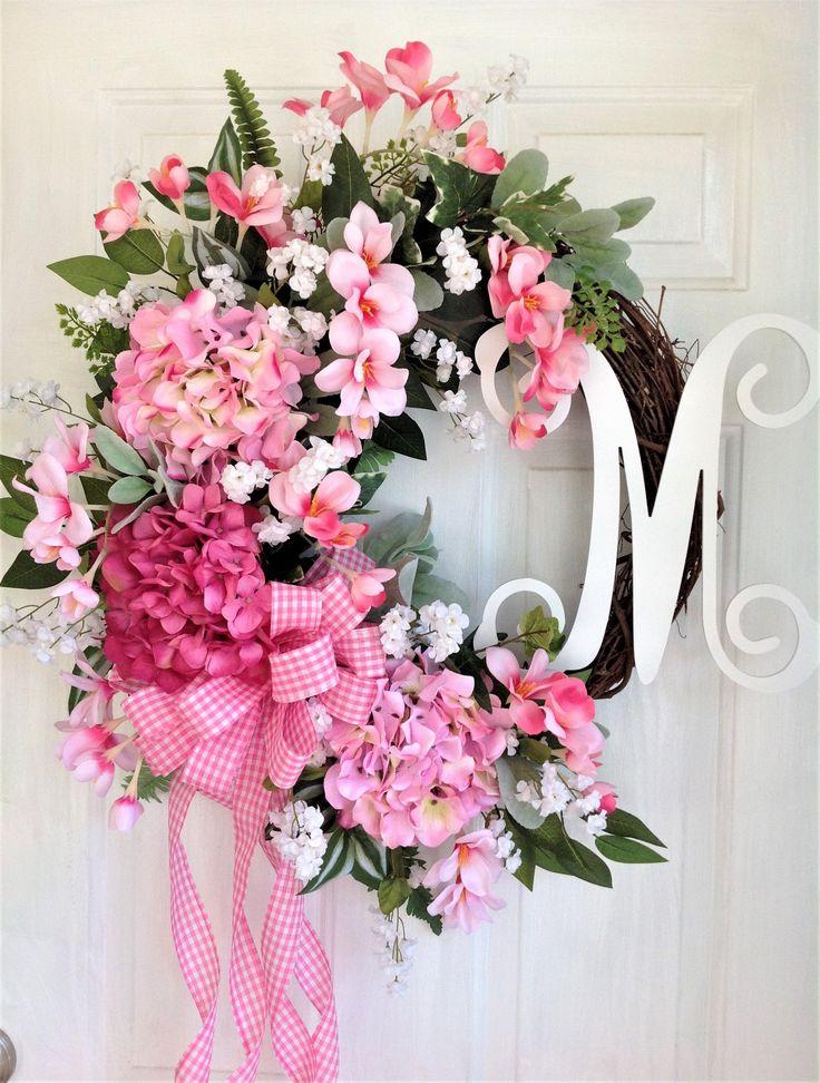 Welcome Wreath, Front Door Wreath, Spring Wreath, Summer Wreath, Everyday Wreath, Pink Hydrangea Wreath, Floral Wreath, Housewarming Wreath