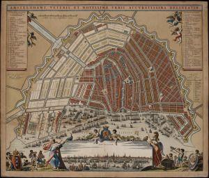 De Amsterdamse grachtengordel. Het typerende halvemaanvormige spinnenweb van straten en grachten, tegenwoordig de belangrijkste toeristische attractie van Amsterdam en in 2010 op de lijst van Unesco Werelderfgoed bijgeschreven.