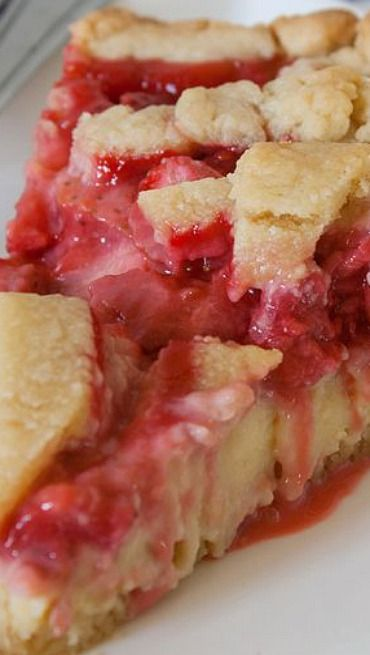 ~~Red Berry Custard Pie~~ fresh ripe strawberries over creamy vanilla custard, all inside a perfect pastry crust. A little more work than a simple berry pie, but that custard makes it all worthwhile!