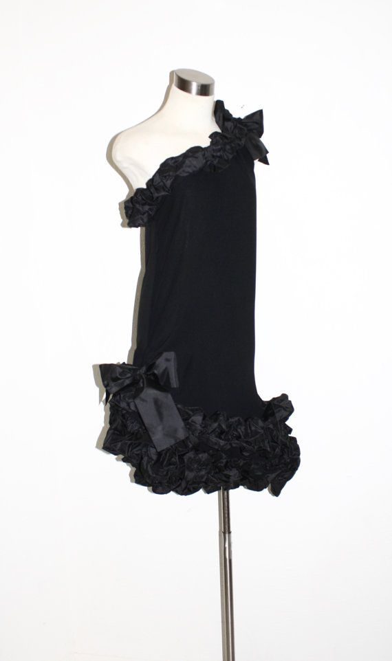 SAINT LAURENT Vintage Rive Gauche Bow Dress Black by StatedStyle