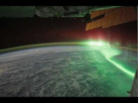 Northern lights viewed from space - aurora borealis