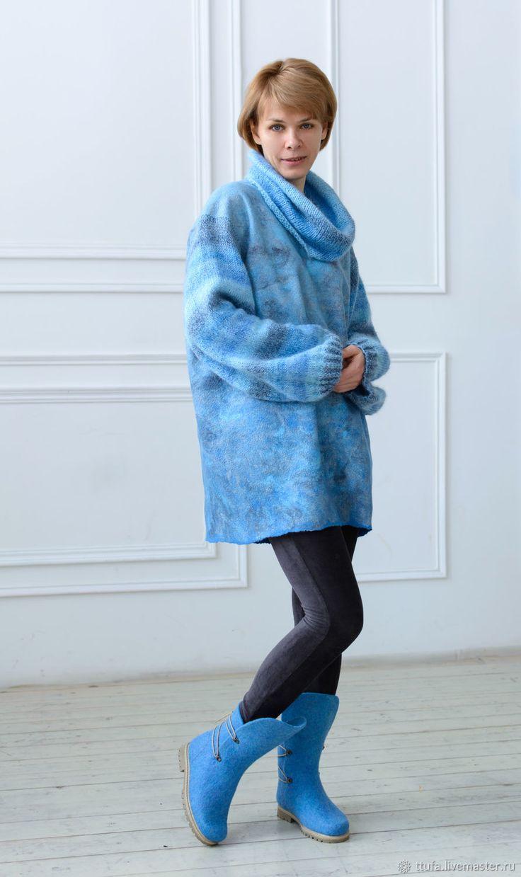 "Купить Свитер-туника оверсайз ""Лунная соната"" - зима, голубой, джемпер, камин, свитер, туника"