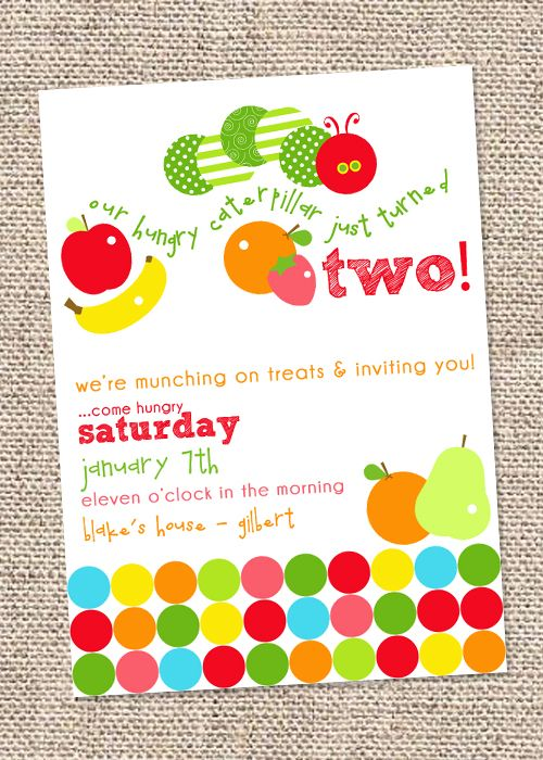 The Very Hungry Caterpillar Party Invitation  #veryhungrycaterpillar #party #invitation