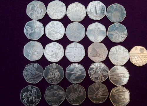 26 #olympic 50p coins in circulated condition #(missing judo, triathlon, #boxing),  View more on the LINK: http://www.zeppy.io/product/gb/2/112234301024/