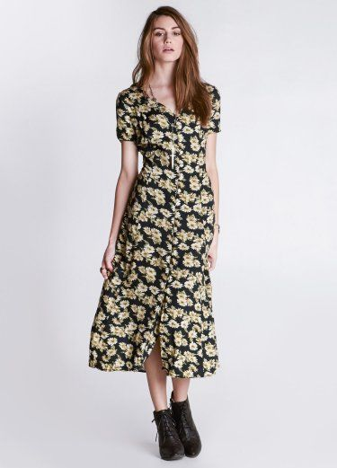 90s Cherub Maxi Gentle daisy print maxi dress. Features ...